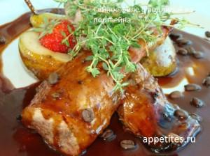 Свиное филе в глазури из портвейна с кленовым сиропом